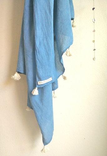 Indigo Hand Stitched Tassel Scarf/ Beach Pareo