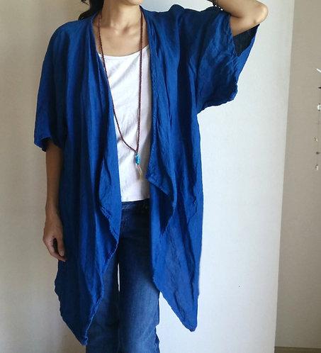 Deep Indigo Linen Kimono Cardigan