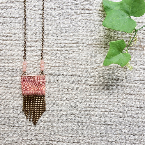 Vintage Lao Silk Textile Necklace with Peach Jade