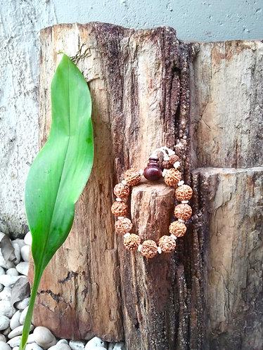 Rudraksha Mala Bracelet with Rose Wood