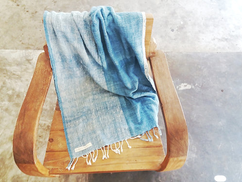 Handwoven Cotton Shawl * Two Tone Light Indigo *