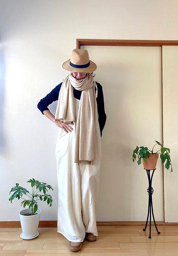 Pure Cashmere Knit Stole / L size