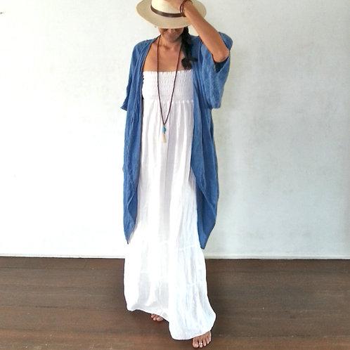 Indigo Linen Kimono Cardigan Zen