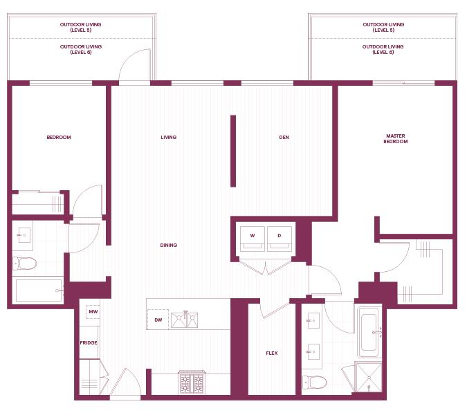 2-bedroom & Den F1 plan