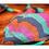 biquíni cortininha dupla face, verde e textura colorida em rosa, roxo, laranja e verde