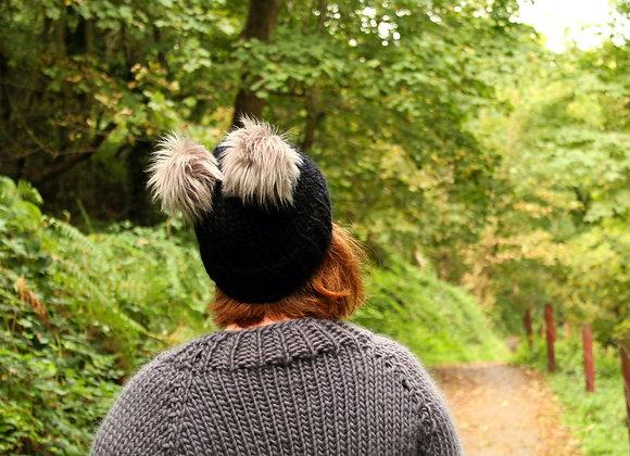 The Double Pom Beanie Hat with Faux Fur Pom-Pom