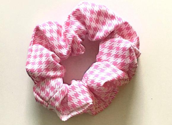 Pink Houndstooth Scrunchie