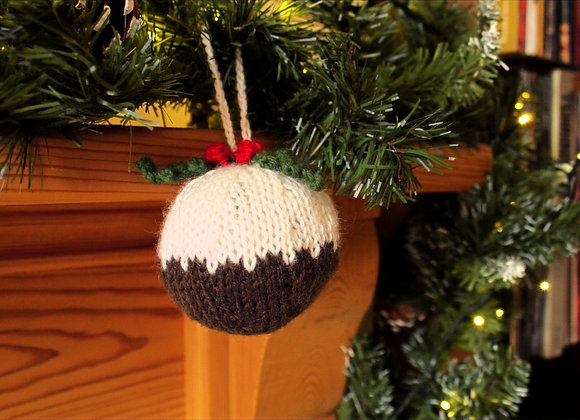 Novelty Christmas Pud Knitted Bauble