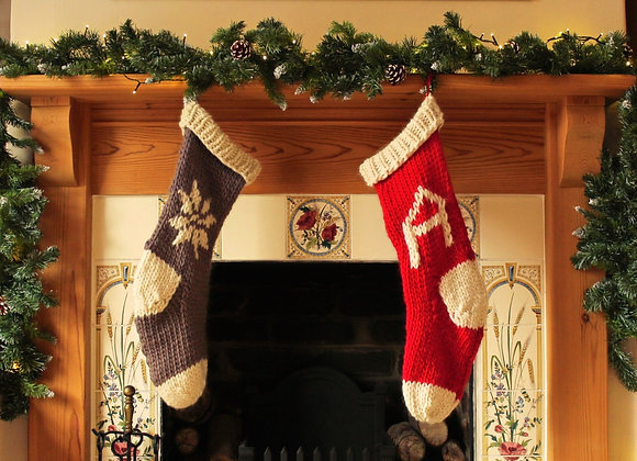 Large Hand Knitted Christmas Stocking