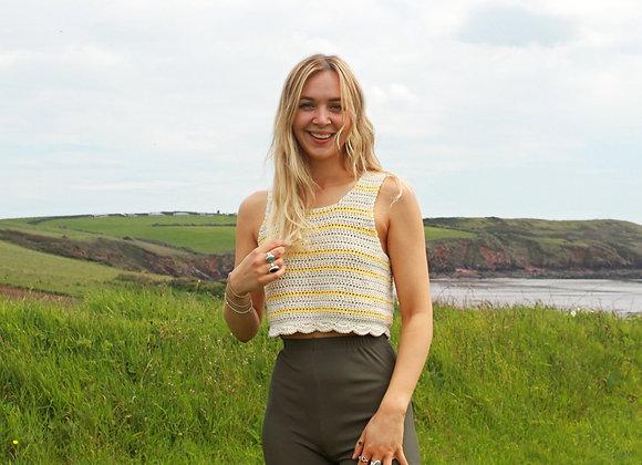 Stripe Crochet Shell Vest
