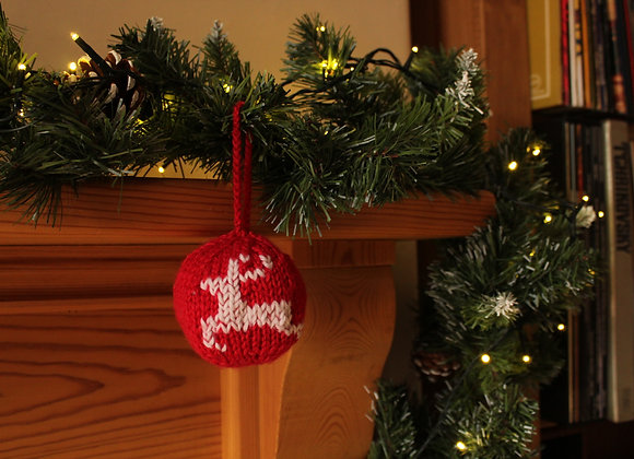 Classic Reindeer Knitted Bauble