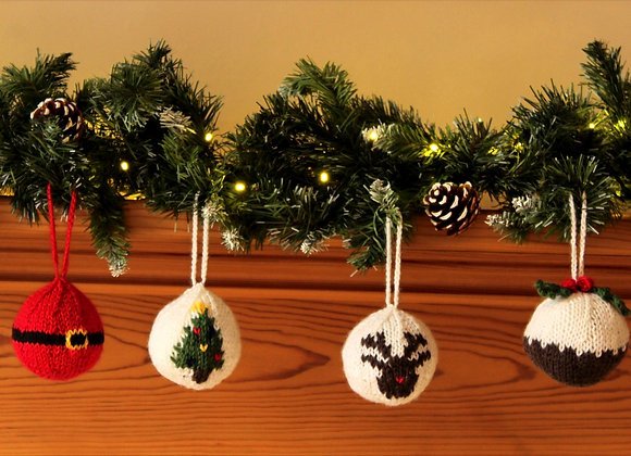 Novelty Knitted Baubles Multipack