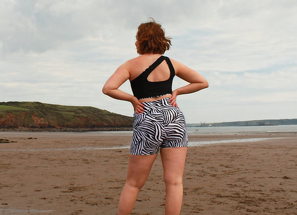 Salty Bums Print High-Waisted Booty Shorts