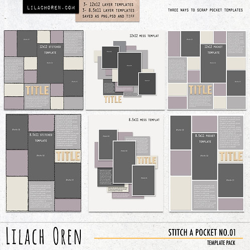 Stitch A Pocket Template pack No. 01