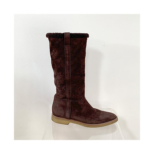 GUCCI Brown GG Suede Flat Boots, Size 38 EU