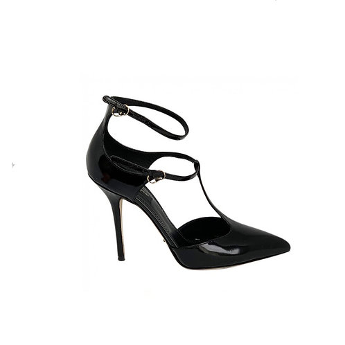 DOLCE and GABBANA Patent Leather Sandals, Size 38 EU
