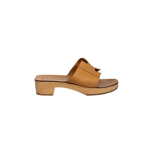 HERMES Mark Leather Wood Mules, Size 38EU