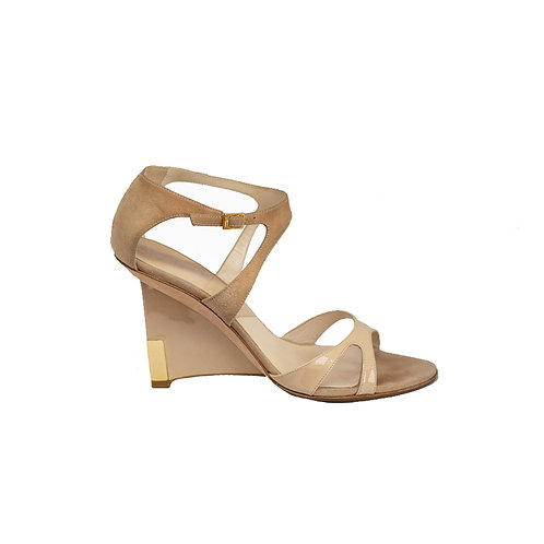 Christian Dior Nude Patent/Suede Leather Wedge Sandals, Size 36 EU