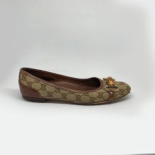 GUCCI  GG Canvas Bamboo Horsebit Flats, Size 38EU