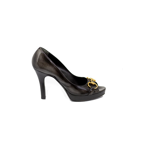 GUCCI Horsebit Peep-toe Heels, Size 38EU