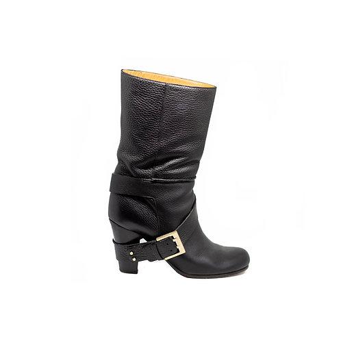 CHLOE Mid-Calf Buckle Boots, Size 38