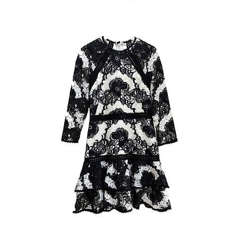 ALEXIS two-tone lace Dress, Size L