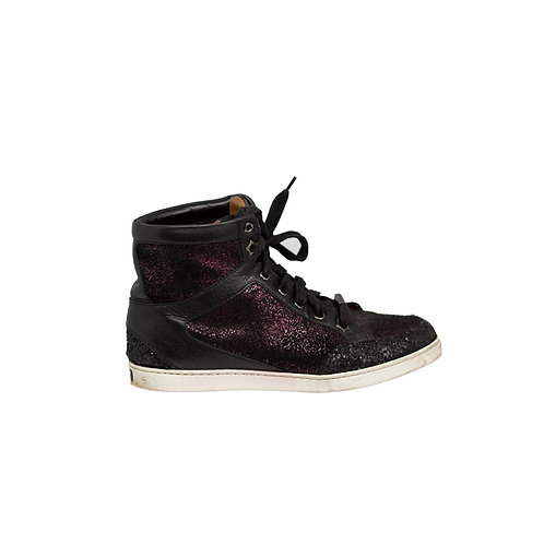 JIMMY CHOO Multicolour Miami Glitter High-top Sneakers, Size 37EU