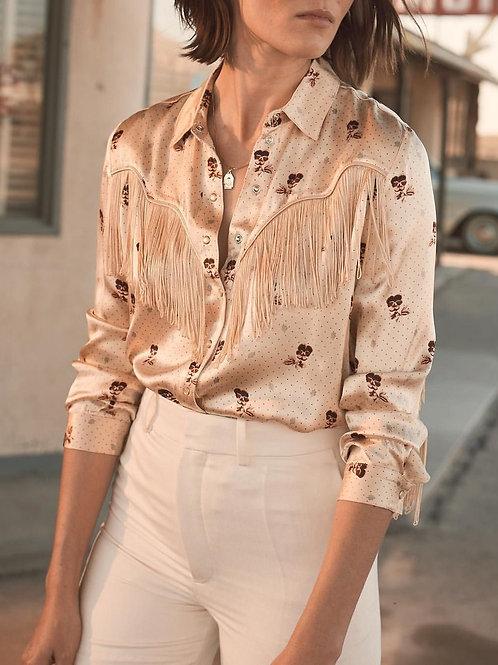 GANNI Donnelly Fringed Shirt, Size 40 FR