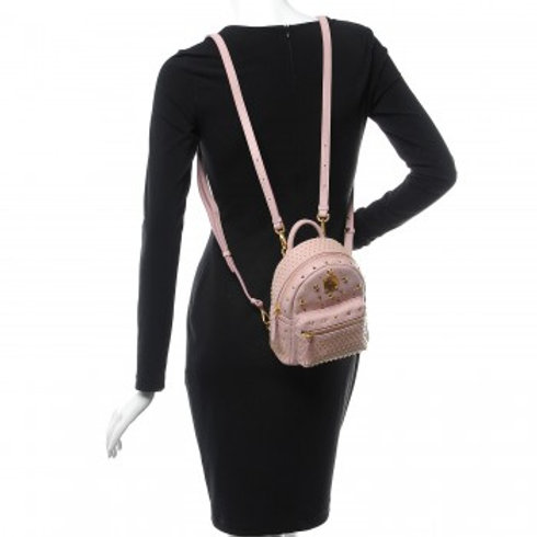 MCM Mini Bebe Boo Baby Pink Leather Backpack