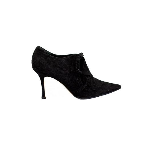 MANOLO BLAHNIK Suede Ankle Boots, Size 37 EU