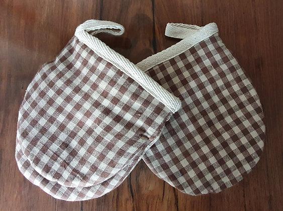Paire de gants de cuisine - Vichy beige et brun