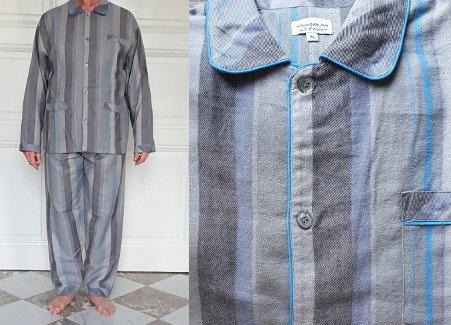 Pyjama homme -  Ligné Gris / Bleu