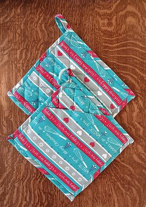 Paire de maniques carrées - Merry Christmas