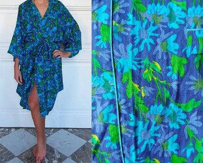 Peignoir style Kimono dame - Bleu-vert/Marine