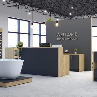 On-demand display fixtures for decorative plumbing showrooms