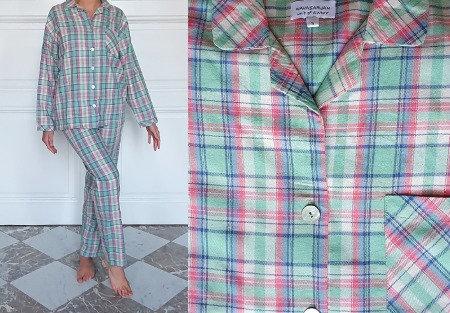 Pyjama dame manches longues - Carreaux Vert/Rose/Bleu