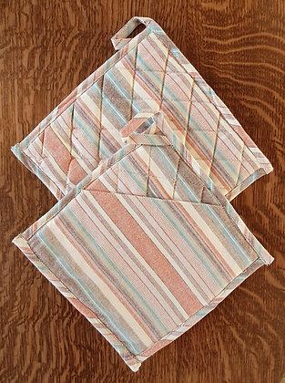 Paire de maniques carrées - Ligné / Pastel