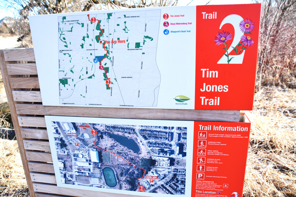 powder-coated graphics on aluminum map sign in red and white on forest trail