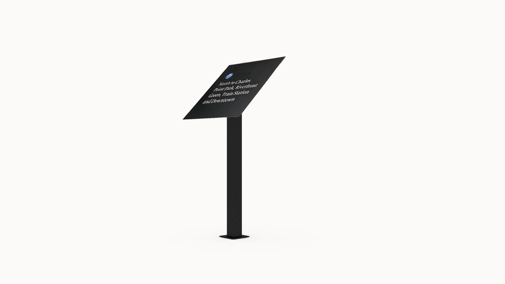 ALTO™ single pedestal sign and panel mount.