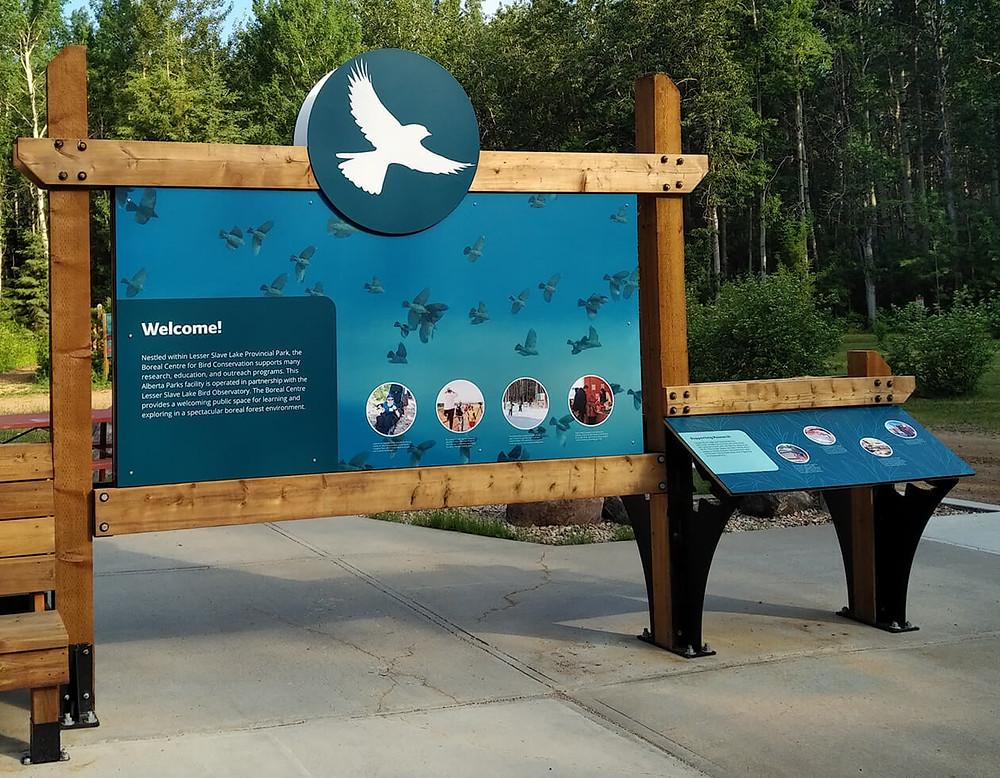 Outdoor interpretation center sign in powder-coated graphics on aluminum