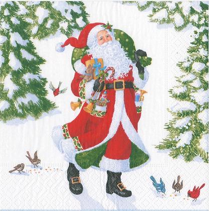 Serviette Woodland Santa