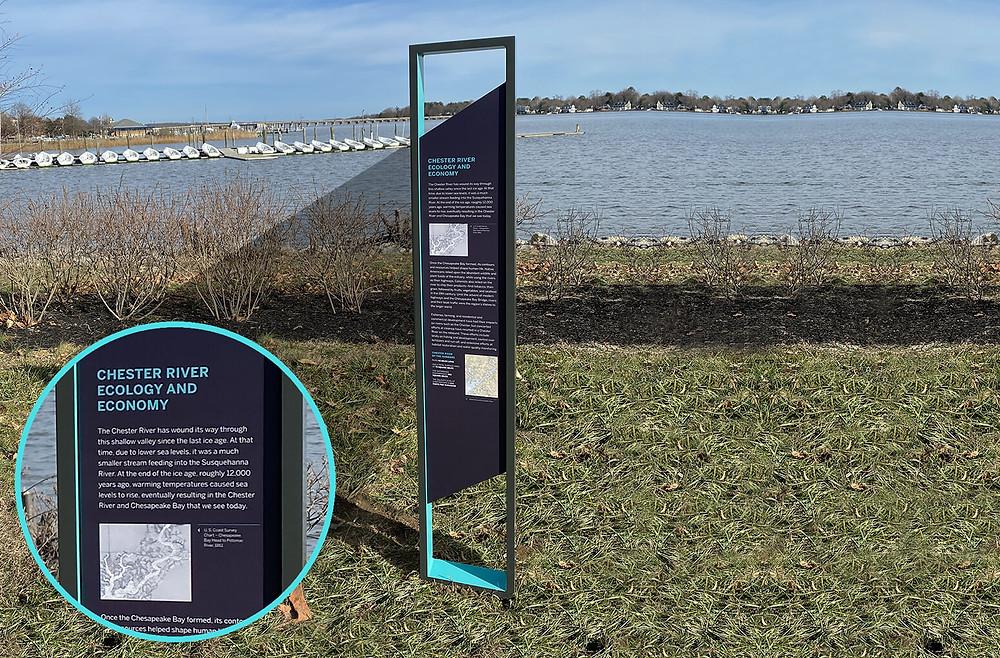 outdoor interpretive panel in powder-coated graphics on aluminum