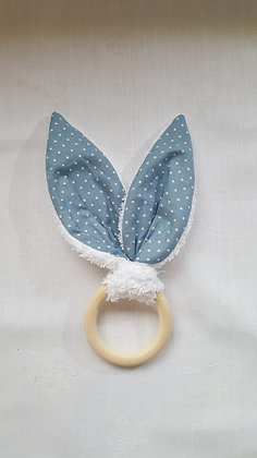 Hochet Petits pois bleu / Eponge blanche