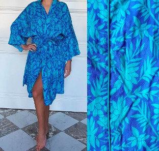 Peignoir style Kimono dame - Bleu / Turquoise