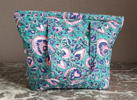 Trousse de toilette avec poignées - Fleurs vert/rose/marine