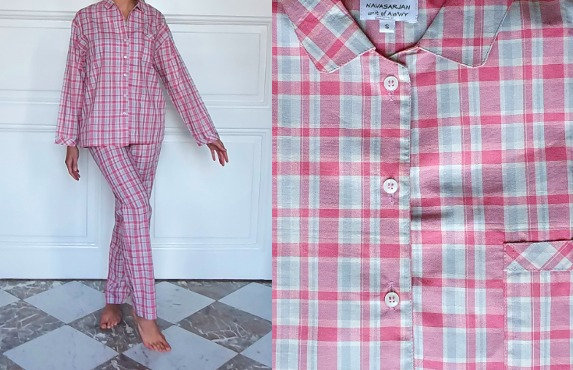 Pyjama dame manches longues - Rose / Gris