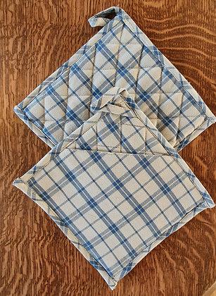 Paire de maniques carrées - Carreaux gris et bleu