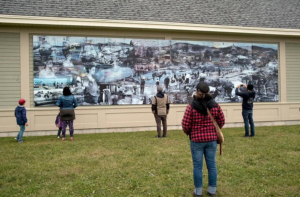 historical mural in custom powder-coated graphics on aluminum