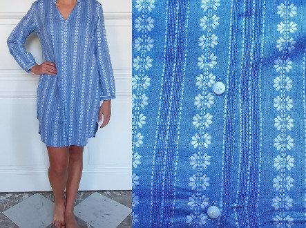 Chemise de nuit manches longues - Ligné bleu-fleurs blanches