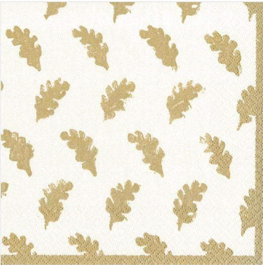 Serviette Ivory Leaves of gold